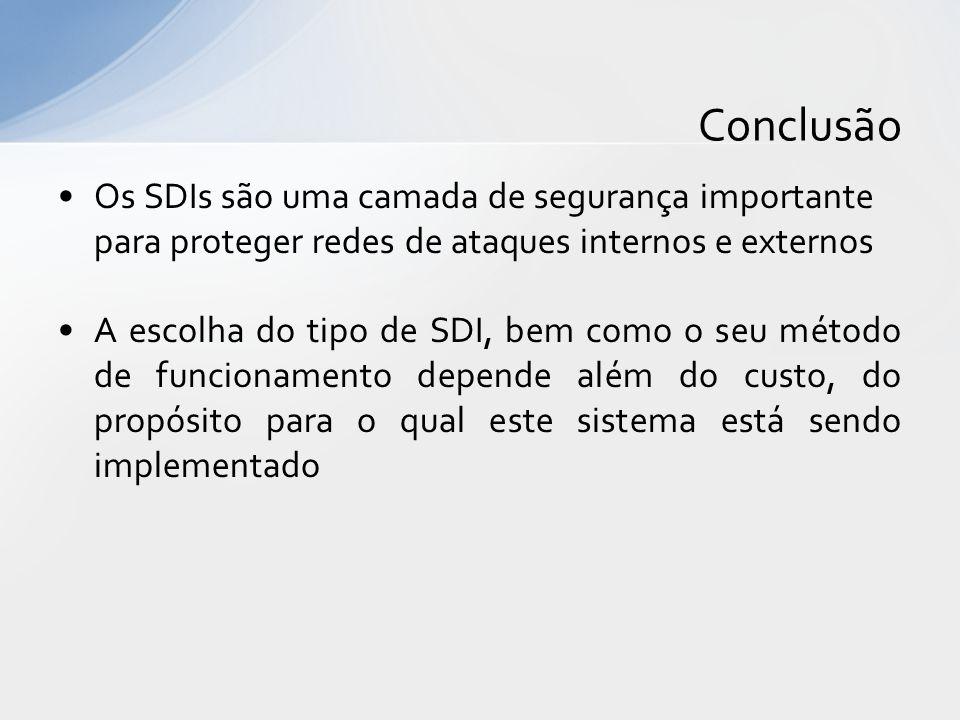 Os SDIs são uma camada de segurança importante para proteger redes de ataques internos e externos A escolha do tipo de SDI, bem como o seu método de f