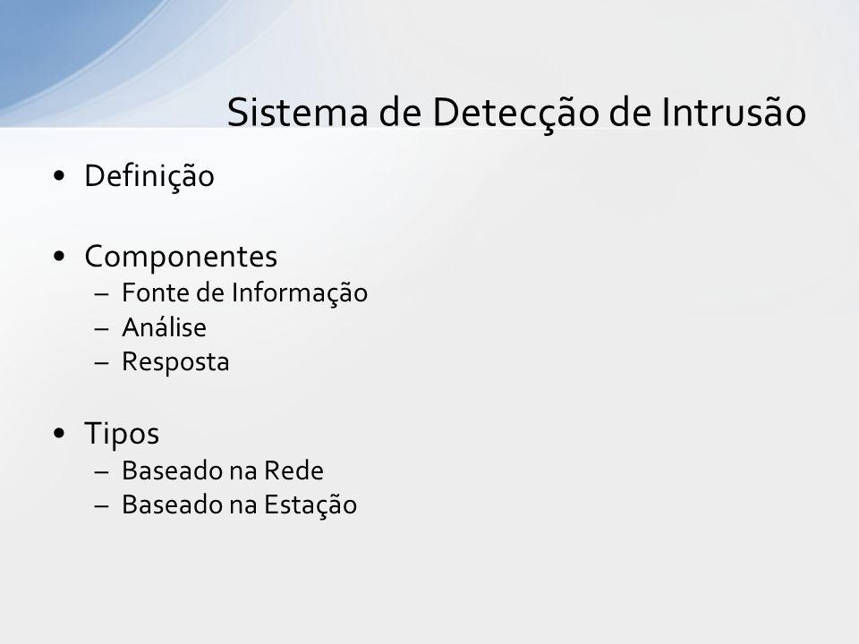 Definição Componentes –Fonte de Informação –Análise –Resposta Tipos –Baseado na Rede –Baseado na Estação Sistema de Detecção de Intrusão