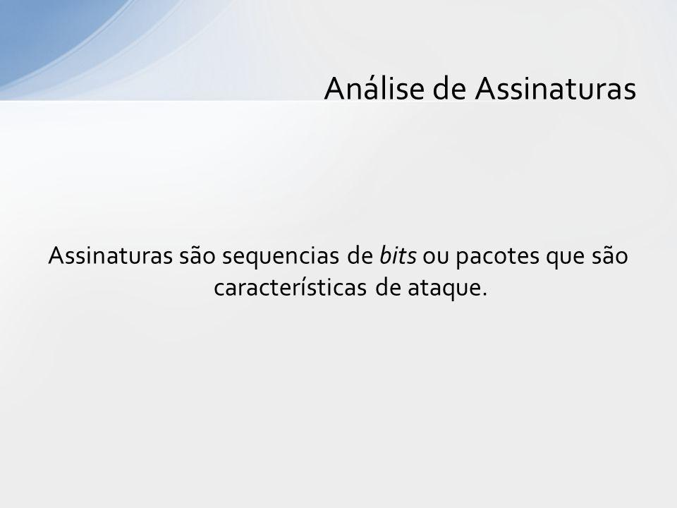 Assinaturas são sequencias de bits ou pacotes que são características de ataque. Análise de Assinaturas