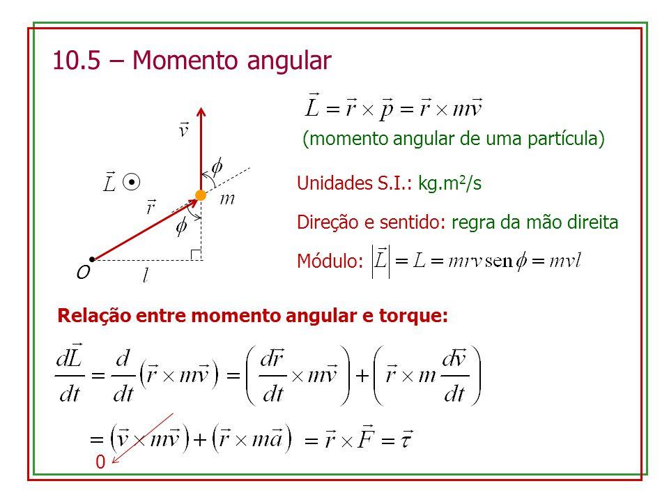 10.5 – Momento angular Unidades S.I.: kg.m 2 /s O Direção e sentido: regra da mão direita Módulo: (momento angular de uma partícula) Relação entre mom