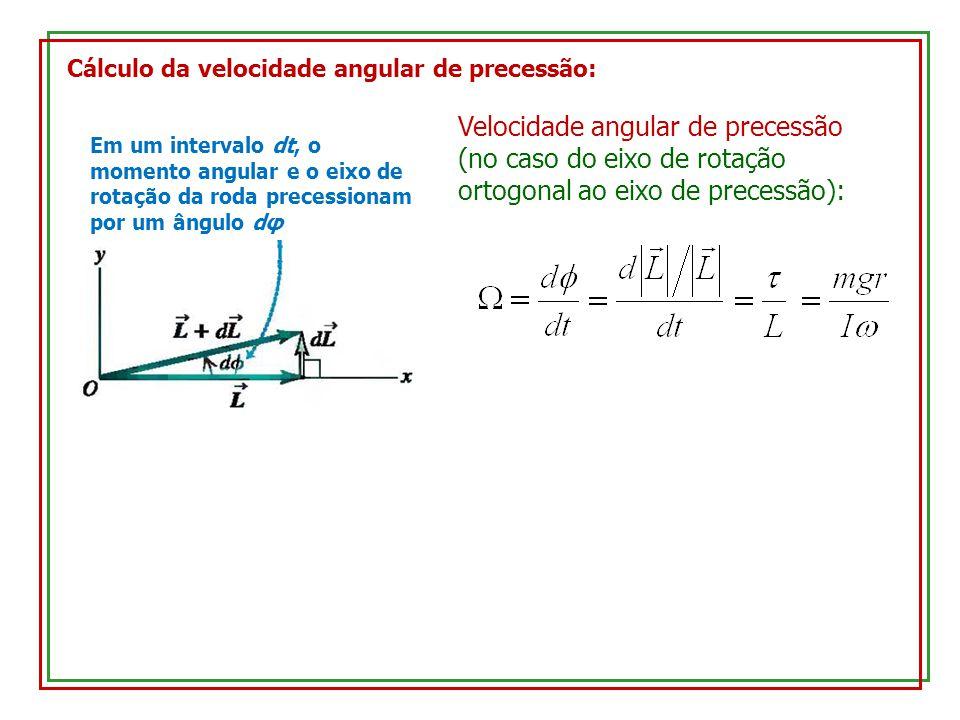 Cálculo da velocidade angular de precessão: Em um intervalo dt, o momento angular e o eixo de rotação da roda precessionam por um ângulo dφ Velocidade