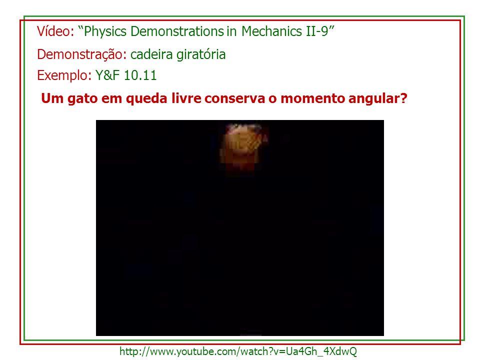 Vídeo: Physics Demonstrations in Mechanics II-9 Demonstração: cadeira giratória Um gato em queda livre conserva o momento angular? http://www.youtube.