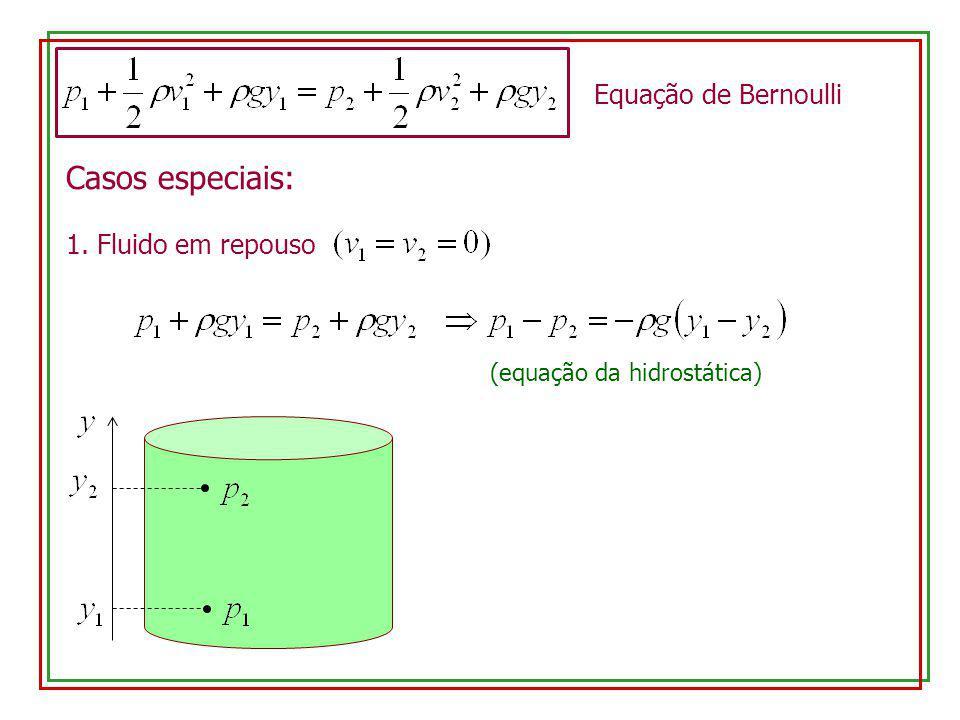 Casos especiais: 1. Fluido em repouso Equação de Bernoulli (equação da hidrostática)