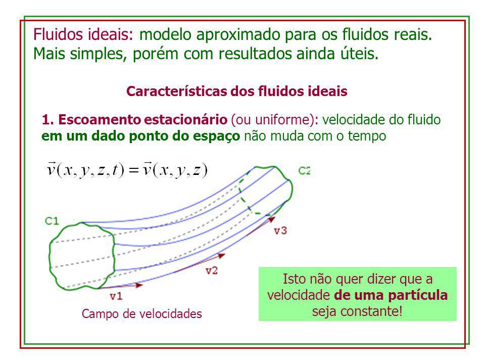 Fluidos ideais: modelo aproximado para os fluidos reais. Mais simples, porém com resultados ainda úteis. Características dos fluidos ideais 1. Escoame