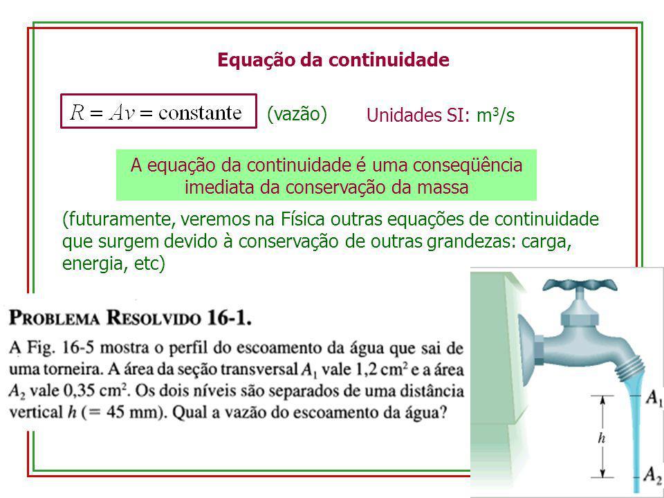 Equação da continuidade (vazão) Unidades SI: m 3 /s A equação da continuidade é uma conseqüência imediata da conservação da massa (futuramente, veremo