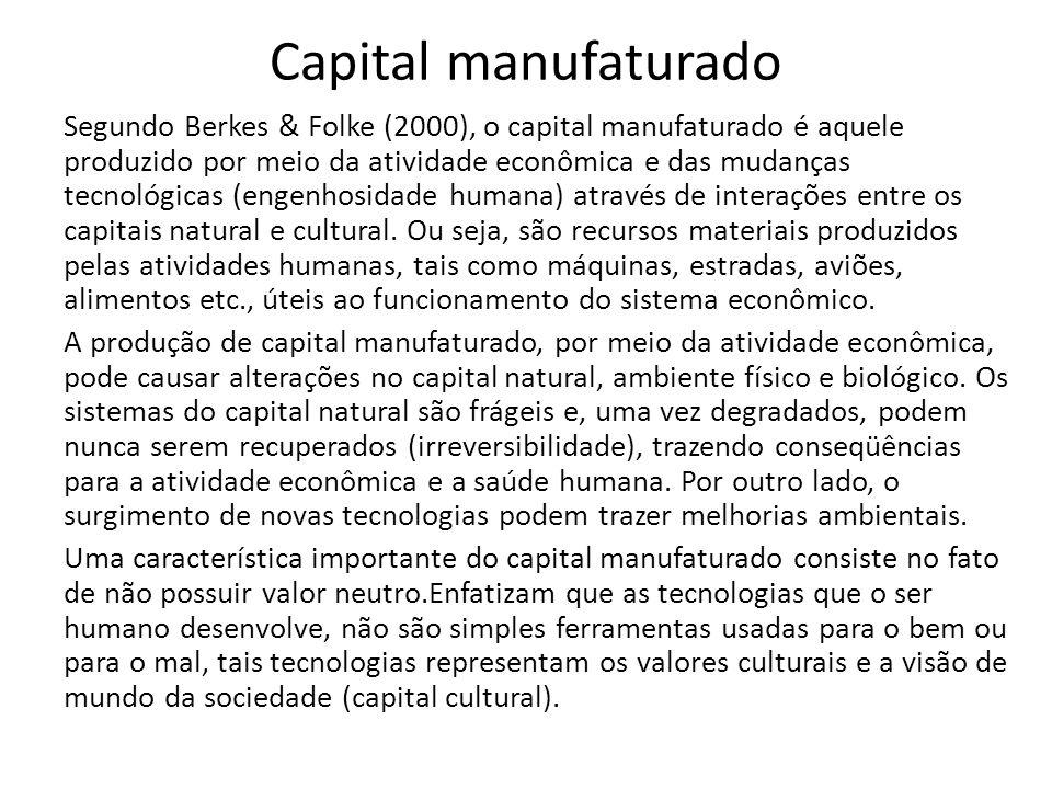 Capital manufaturado Segundo Berkes & Folke (2000), o capital manufaturado é aquele produzido por meio da atividade econômica e das mudanças tecnológicas (engenhosidade humana) através de interações entre os capitais natural e cultural.
