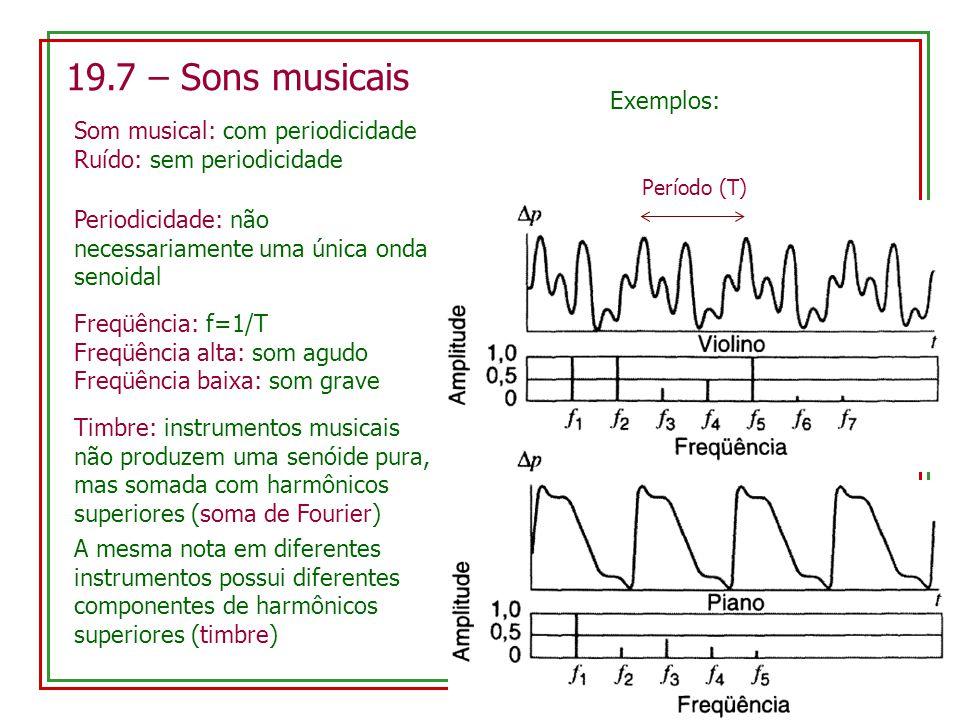 19.7 – Sons musicais Som musical: com periodicidade Ruído: sem periodicidade Periodicidade: não necessariamente uma única onda senoidal Exemplos: Perí