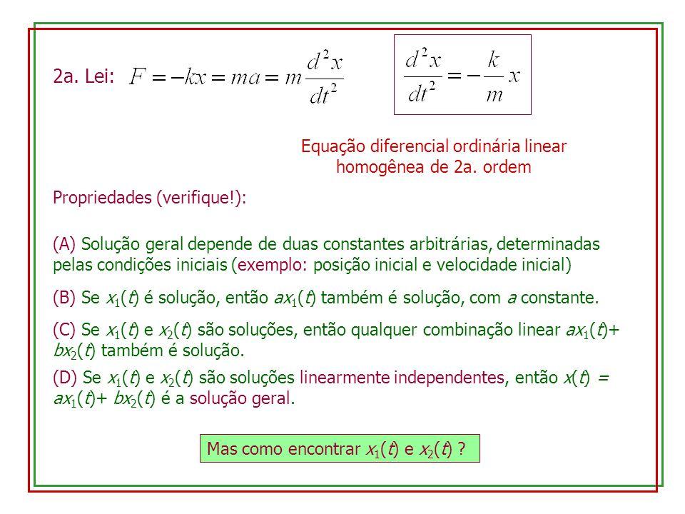 2a. Lei: Equação diferencial ordinária linear homogênea de 2a. ordem Propriedades (verifique!): (A) Solução geral depende de duas constantes arbitrári