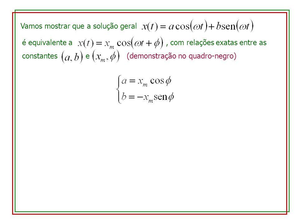 Vamos mostrar que a solução geral é equivalente a, com relações exatas entre as constantes e (demonstração no quadro-negro)