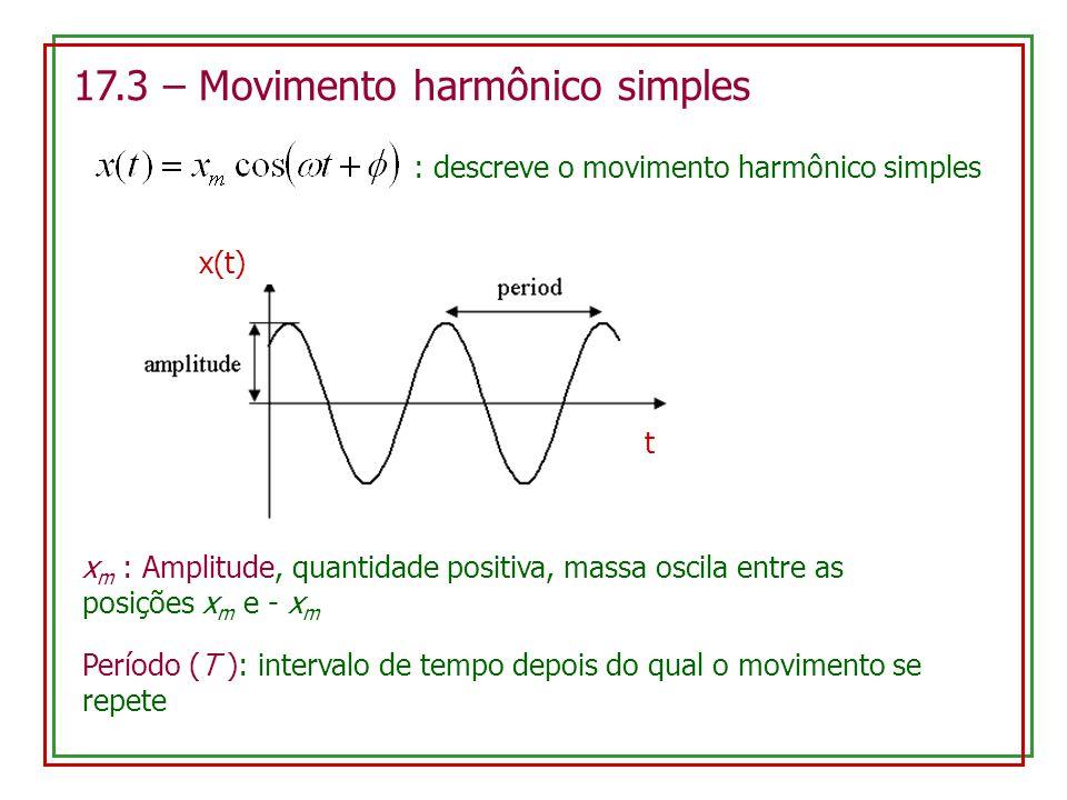 17.3 – Movimento harmônico simples : descreve o movimento harmônico simples x(t) t x m : Amplitude, quantidade positiva, massa oscila entre as posições x m e - x m Período (T ): intervalo de tempo depois do qual o movimento se repete