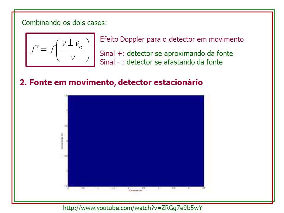 Combinando os dois casos: Efeito Doppler para o detector em movimento Sinal +: detector se aproximando da fonte Sinal - : detector se afastando da fon