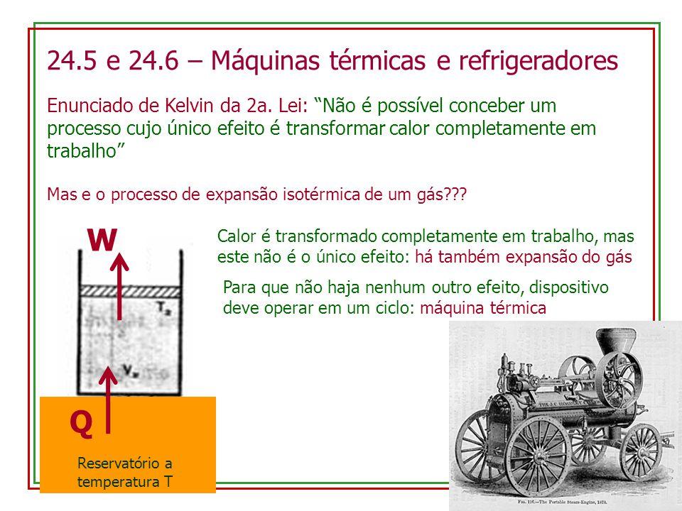24.5 e 24.6 – Máquinas térmicas e refrigeradores Enunciado de Kelvin da 2a.