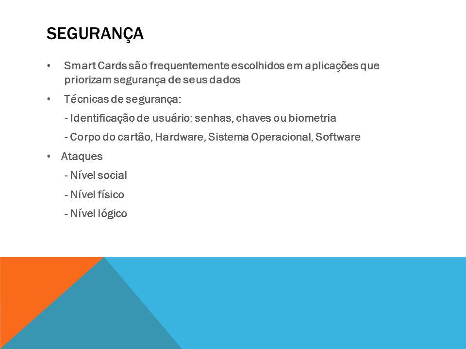 SEGURANÇA Smart Cards são frequentemente escolhidos em aplicações que priorizam segurança de seus dados Técnicas de segurança: - Identificação de usuá