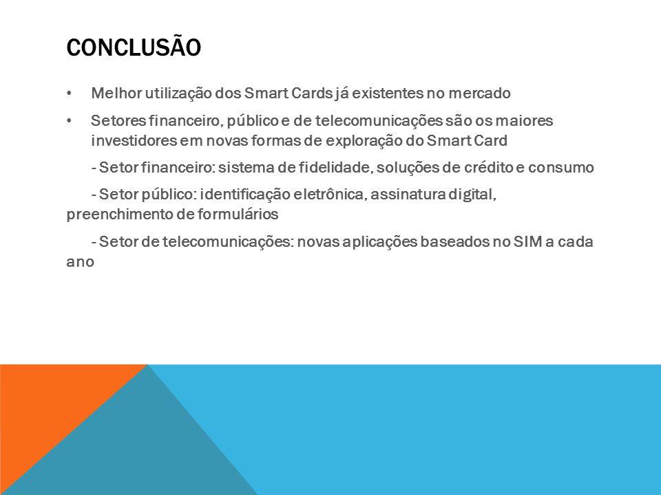 CONCLUSÃO Melhor utilização dos Smart Cards já existentes no mercado Setores financeiro, público e de telecomunicações são os maiores investidores em
