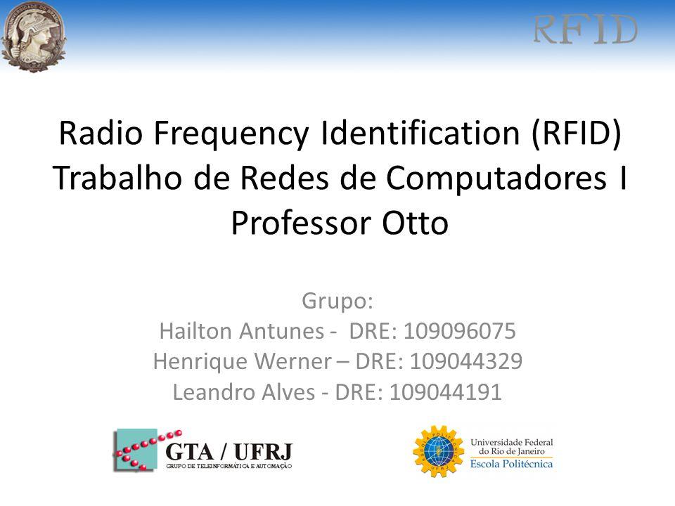 Radio Frequency Identification (RFID) Trabalho de Redes de Computadores I Professor Otto Grupo: Hailton Antunes - DRE: 109096075 Henrique Werner – DRE