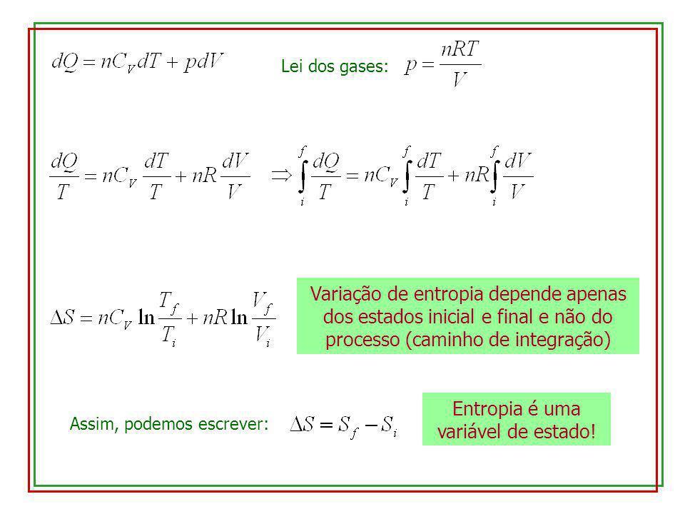 Lei dos gases: Variação de entropia depende apenas dos estados inicial e final e não do processo (caminho de integração) Assim, podemos escrever: Entr