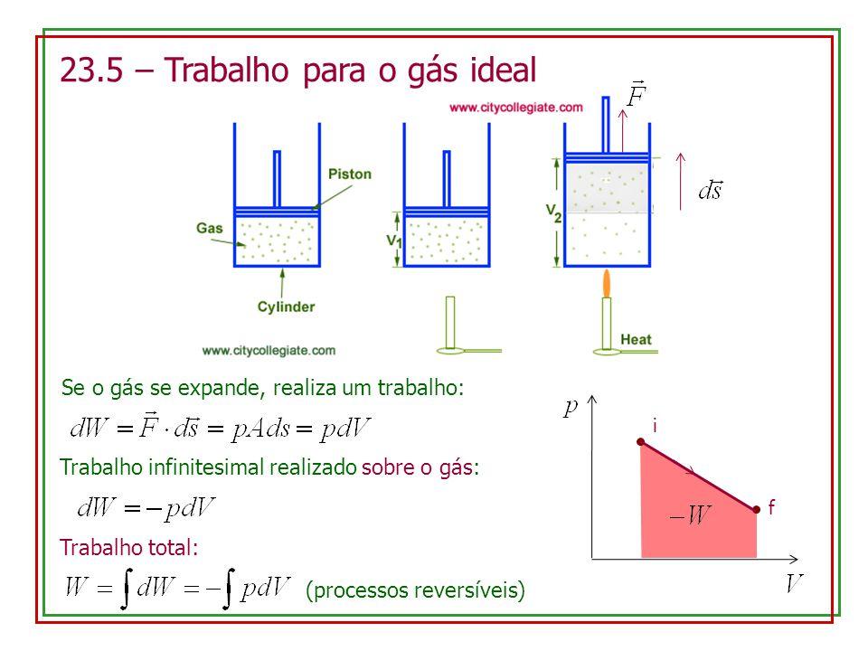23.5 – Trabalho para o gás ideal Se o gás se expande, realiza um trabalho: Trabalho infinitesimal realizado sobre o gás: Trabalho total: (processos re