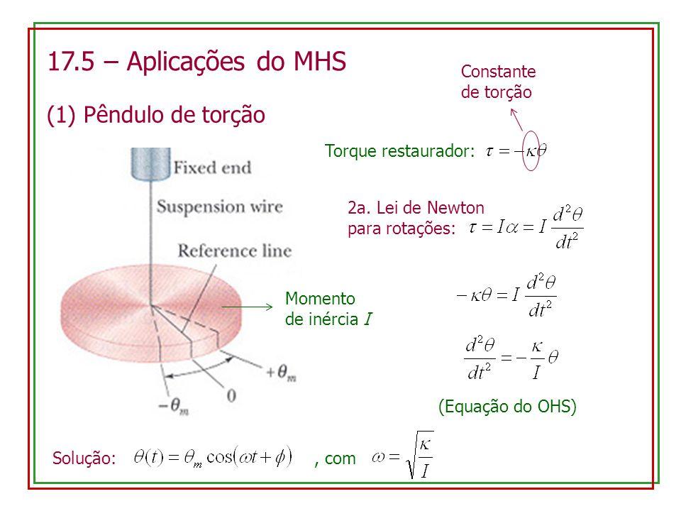 17.5 – Aplicações do MHS (1) Pêndulo de torção Momento de inércia I Torque restaurador: Constante de torção 2a. Lei de Newton para rotações: (Equação
