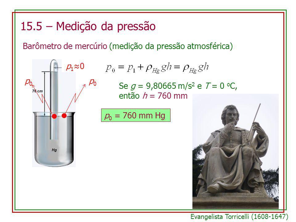 15.5 – Medição da pressão Barômetro de mercúrio (medição da pressão atmosférica) p0p0 p0p0 p10p10 Se g = 9,80665 m/s 2 e T = 0 o C, então h = 760 mm p 0 = 760 mm Hg Evangelista Torricelli (1608-1647)