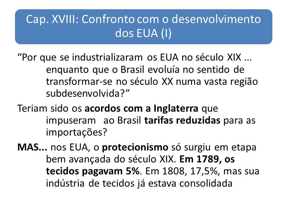 Cap. XVIII: Confronto com o desenvolvimento dos EUA (I) Por que se industrializaram os EUA no século XIX... enquanto que o Brasil evoluía no sentido d