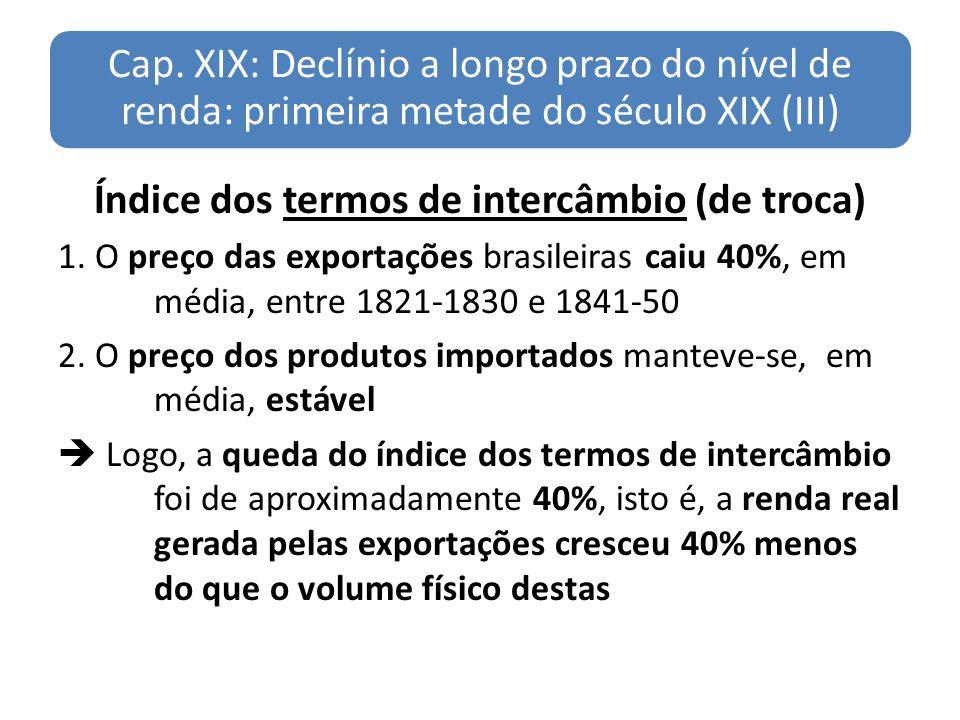 Cap. XIX: Declínio a longo prazo do nível de renda: primeira metade do século XIX (III) Índice dos termos de intercâmbio (de troca) 1. O preço das exp