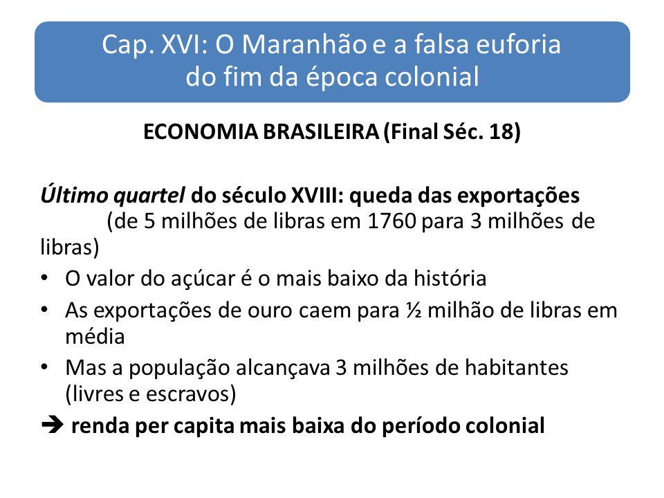 Cap. XVI: O Maranhão e a falsa euforia do fim da época colonial ECONOMIA BRASILEIRA (Final Séc. 18) Último quartel do século XVIII: queda das exportaç