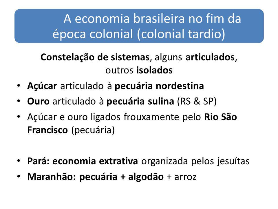 A economia brasileira no fim da época colonial (colonial tardio) Constelação de sistemas, alguns articulados, outros isolados Açúcar articulado à pecu
