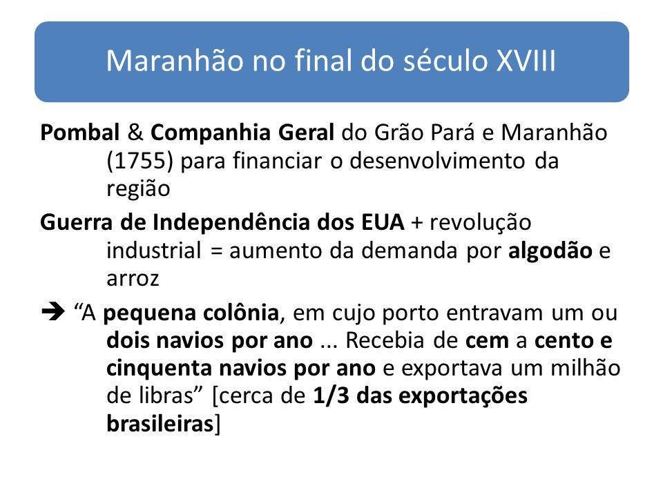 Maranhão no final do século XVIII Pombal & Companhia Geral do Grão Pará e Maranhão (1755) para financiar o desenvolvimento da região Guerra de Indepen