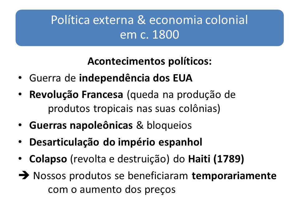 Política externa & economia colonial em c. 1800 Acontecimentos políticos: Guerra de independência dos EUA Revolução Francesa (queda na produção de pro