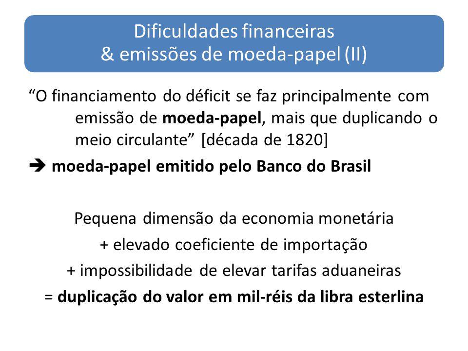 Dificuldades financeiras & emissões de moeda-papel (II) O financiamento do déficit se faz principalmente com emissão de moeda-papel, mais que duplican