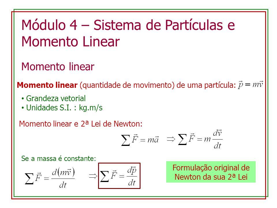 Módulo 4 – Sistema de Partículas e Momento Linear Momento linear Momento linear (quantidade de movimento) de uma partícula: Grandeza vetorial Unidades