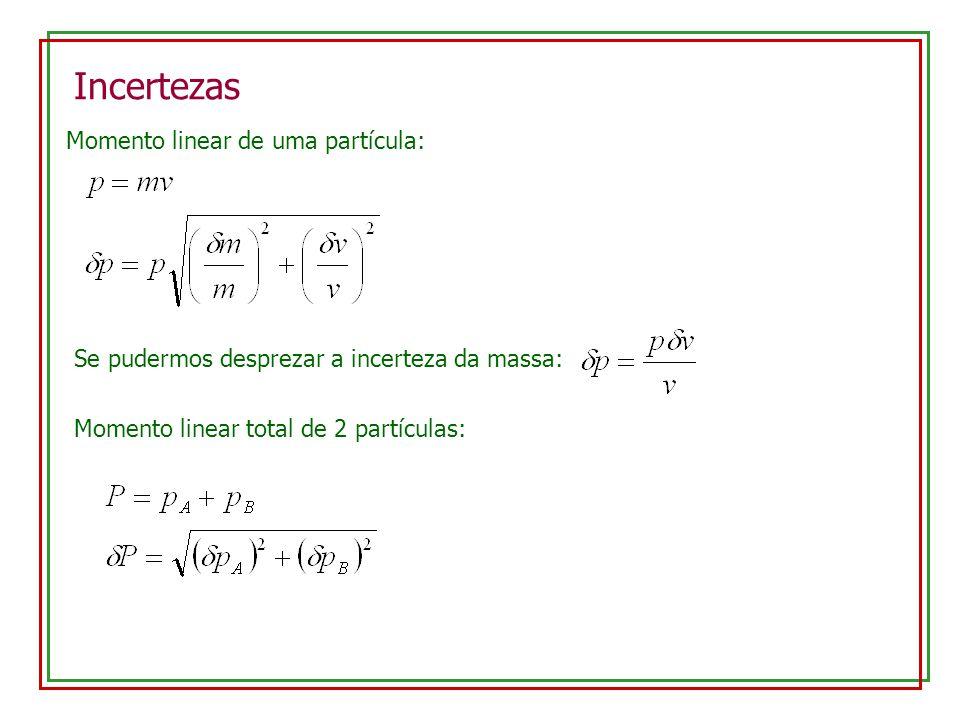 Incertezas Momento linear de uma partícula: Se pudermos desprezar a incerteza da massa: Momento linear total de 2 partículas:
