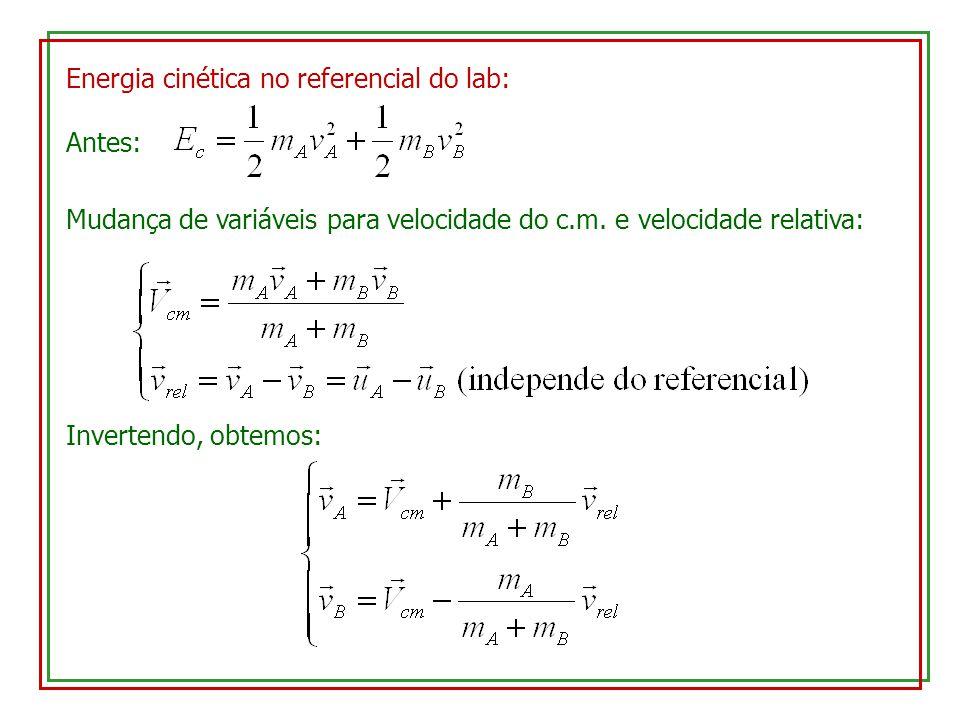 Energia cinética no referencial do lab: Antes: Mudança de variáveis para velocidade do c.m. e velocidade relativa: Invertendo, obtemos: