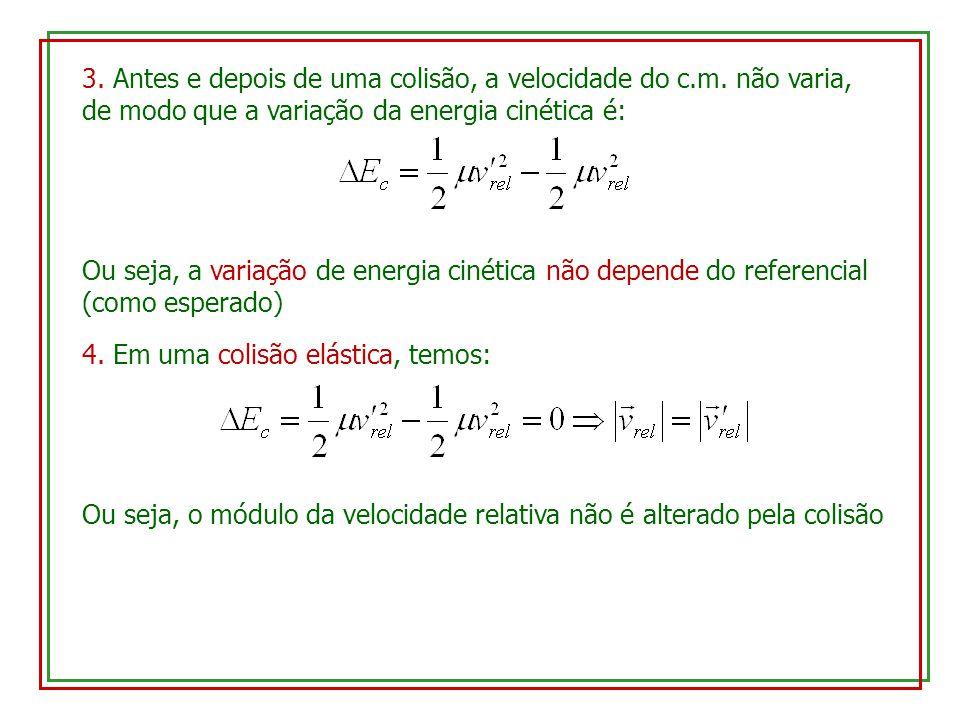 3. Antes e depois de uma colisão, a velocidade do c.m. não varia, de modo que a variação da energia cinética é: Ou seja, a variação de energia cinétic
