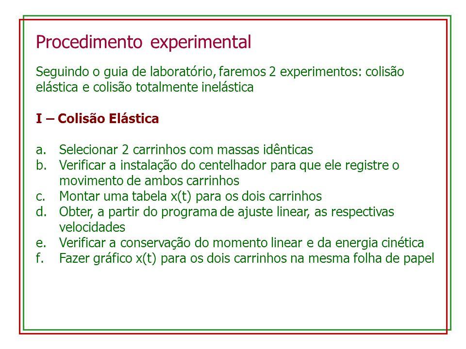 Procedimento experimental Seguindo o guia de laboratório, faremos 2 experimentos: colisão elástica e colisão totalmente inelástica I – Colisão Elástic