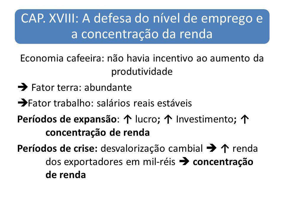 CAP. XVIII: A defesa do nível de emprego e a concentração da renda Economia cafeeira: não havia incentivo ao aumento da produtividade Fator terra: abu