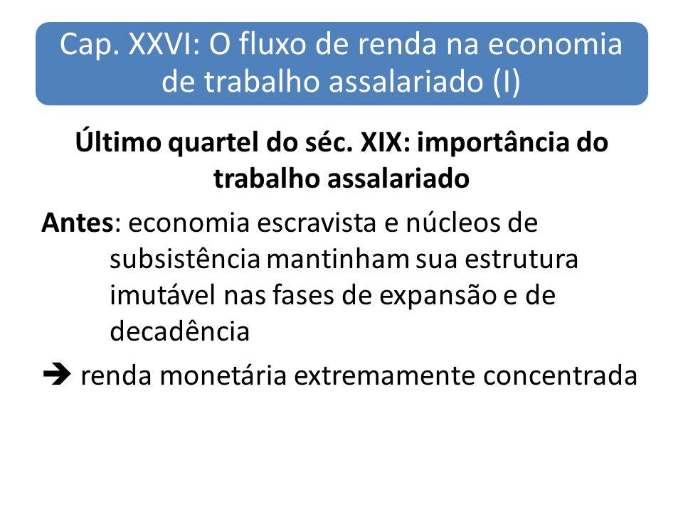 Cap. XXVI: O fluxo de renda na economia de trabalho assalariado (I) Último quartel do séc. XIX: importância do trabalho assalariado Antes: economia es
