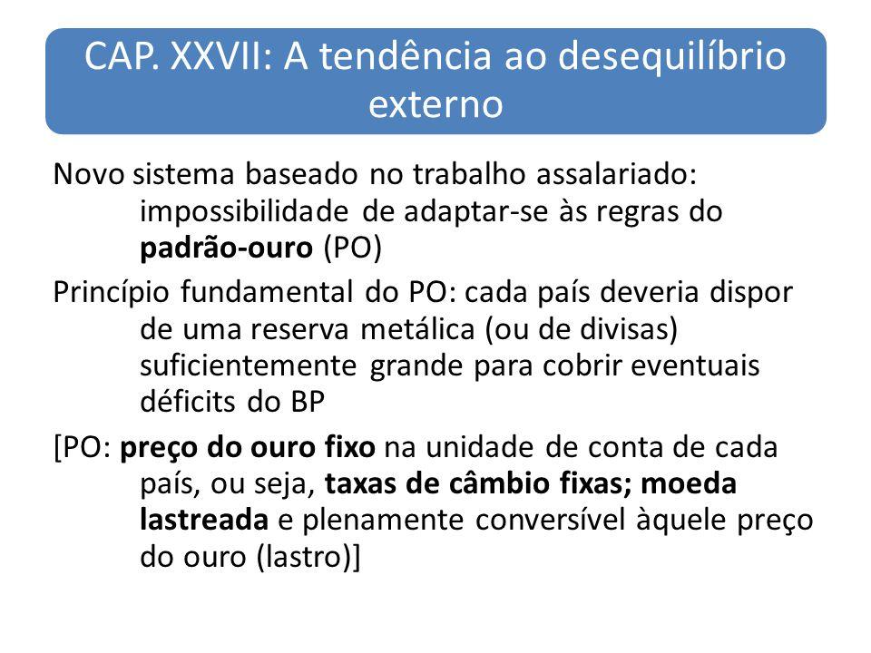 CAP. XXVII: A tendência ao desequilíbrio externo Novo sistema baseado no trabalho assalariado: impossibilidade de adaptar-se às regras do padrão-ouro