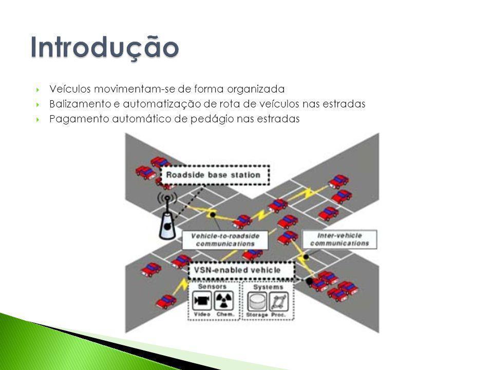 Veículos movimentam-se de forma organizada Balizamento e automatização de rota de veículos nas estradas Pagamento automático de pedágio nas estradas