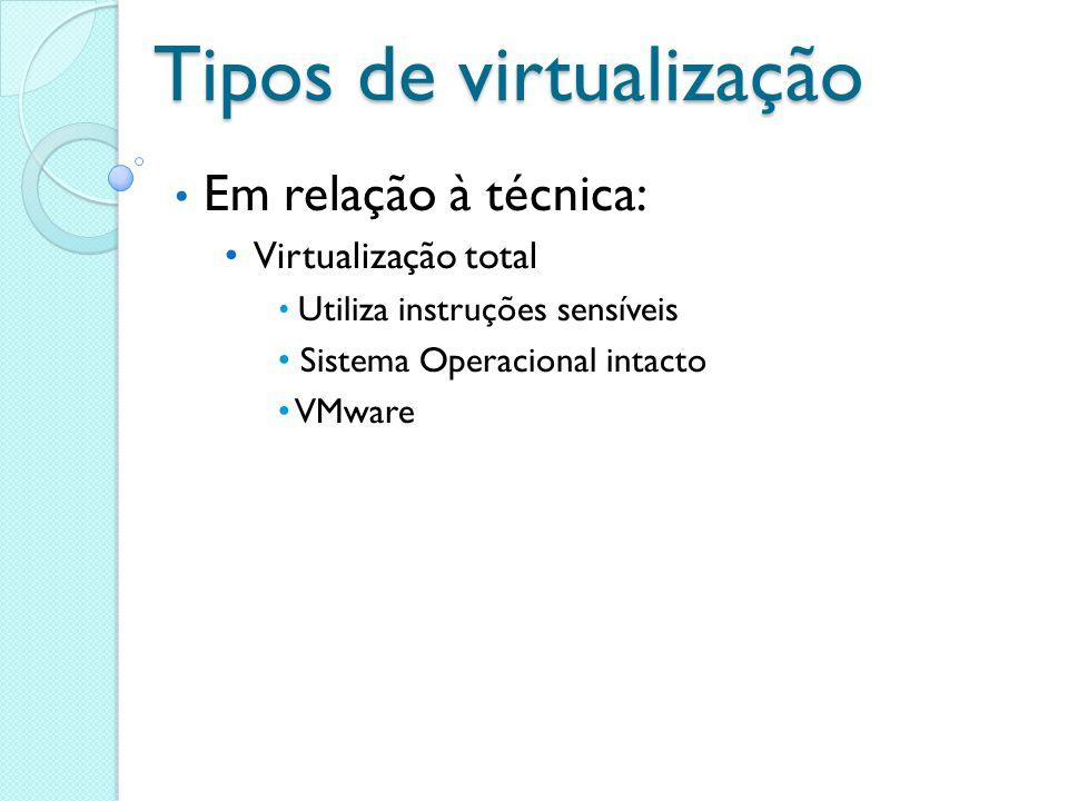 Tipos de virtualização Em relação à técnica: Virtualização total Utiliza instruções sensíveis Sistema Operacional intacto VMware