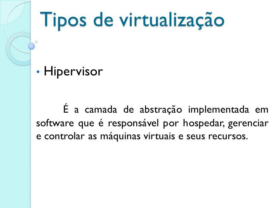 Tipos de virtualização Hipervisor É a camada de abstração implementada em software que é responsável por hospedar, gerenciar e controlar as máquinas v