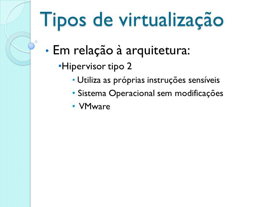 Tipos de virtualização Em relação à arquitetura: Hipervisor tipo 2 Utiliza as próprias instruções sensíveis Sistema Operacional sem modificações VMwar