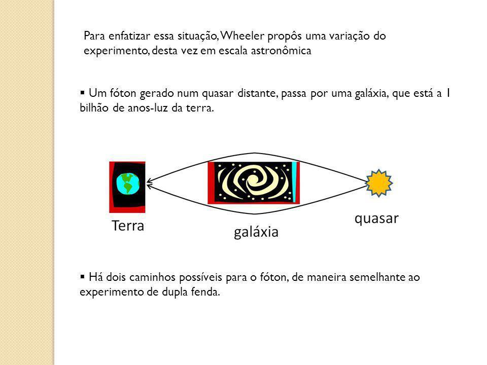 Para enfatizar essa situação, Wheeler propôs uma variação do experimento, desta vez em escala astronômica Um fóton gerado num quasar distante, passa p