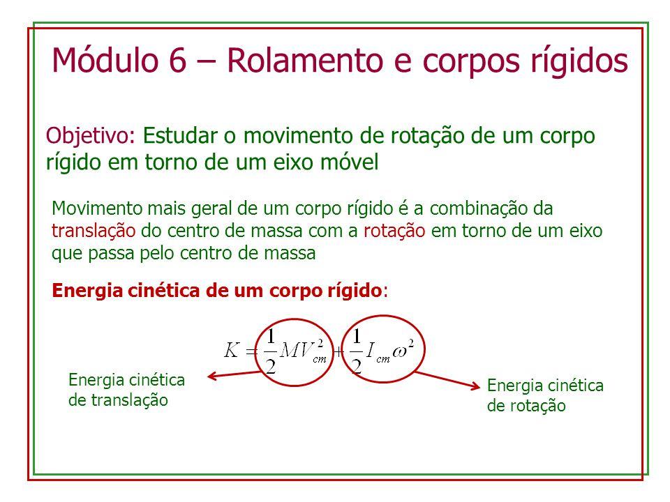 Módulo 6 – Rolamento e corpos rígidos Objetivo: Estudar o movimento de rotação de um corpo rígido em torno de um eixo móvel Movimento mais geral de um corpo rígido é a combinação da translação do centro de massa com a rotação em torno de um eixo que passa pelo centro de massa Energia cinética de um corpo rígido: Energia cinética de translação Energia cinética de rotação