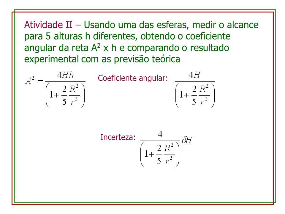 Atividade II – Usando uma das esferas, medir o alcance para 5 alturas h diferentes, obtendo o coeficiente angular da reta A 2 x h e comparando o resultado experimental com as previsão teórica Coeficiente angular: Incerteza:
