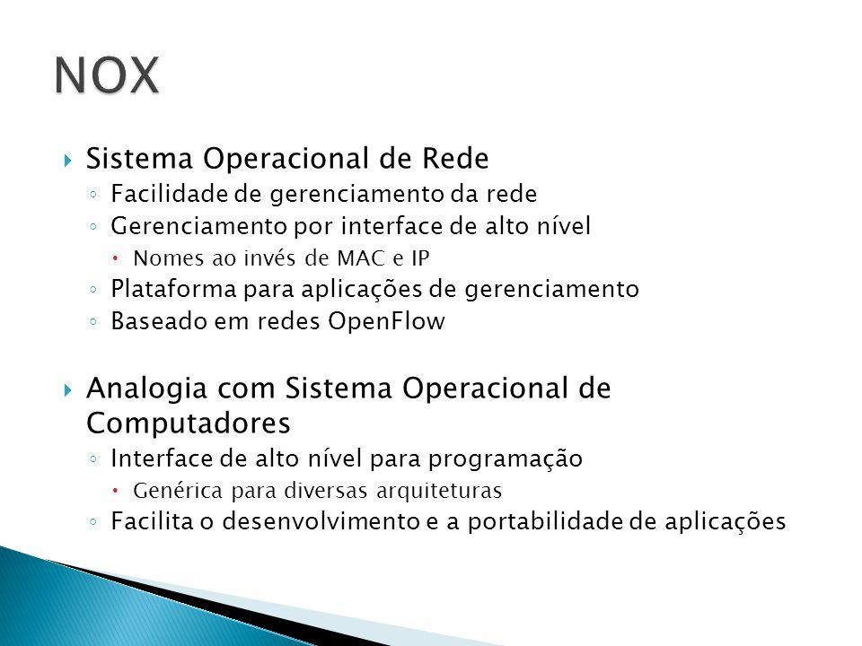 Sistema Operacional de Rede Facilidade de gerenciamento da rede Gerenciamento por interface de alto nível Nomes ao invés de MAC e IP Plataforma para a