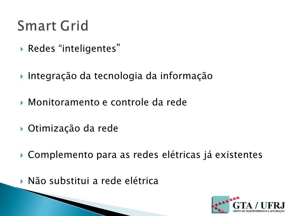 Redes inteligentes Integração da tecnologia da informação Monitoramento e controle da rede Otimização da rede Complemento para as redes elétricas já existentes Não substitui a rede elétrica