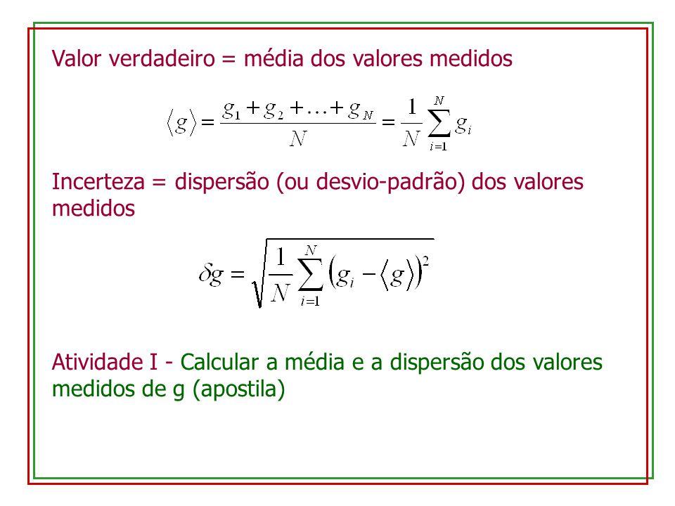 Valor verdadeiro = média dos valores medidos Incerteza = dispersão (ou desvio-padrão) dos valores medidos Atividade I - Calcular a média e a dispersão