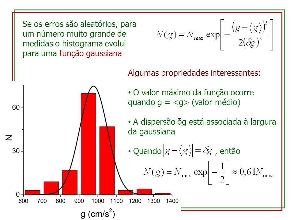 Se os erros são aleatórios, para um número muito grande de medidas o histograma evolui para uma função gaussiana Algumas propriedades interessantes: O