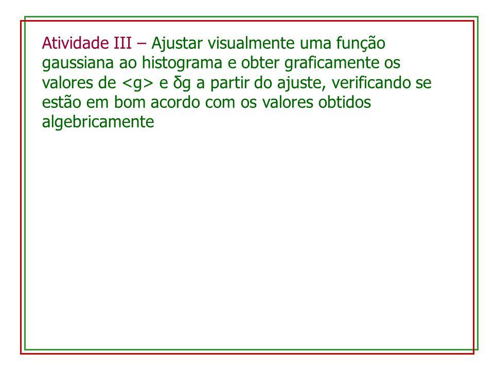 Atividade III – Ajustar visualmente uma função gaussiana ao histograma e obter graficamente os valores de e δg a partir do ajuste, verificando se estã